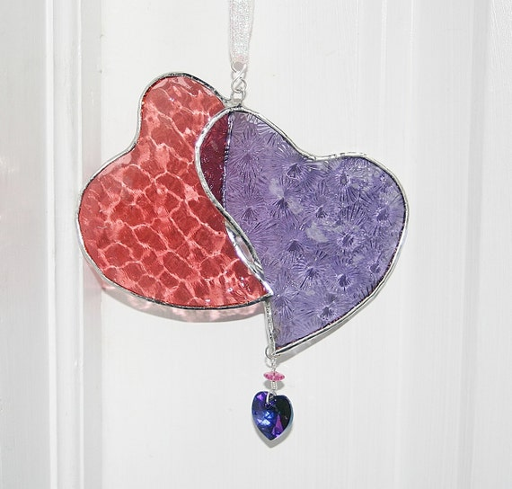Stained Glass Hearts Valentines Day Pink Purple Swarovski Heliotrope Crystal Heart Wedding Gift Bride & Groom Anniversary