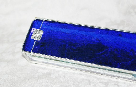 Stained Glass Box Cobalt Royal Blue 2x6 w/ Silver-plated Pewter Paloma Bird Link Handmade OOAK