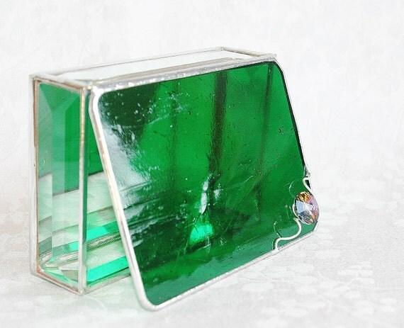 Stained Glass Box Emerald Green 3x4 w/ a Swarovski Rivoli Volcano Crystal Hand-crafted OOAK