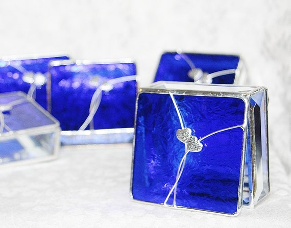 Bridal Attendants Gifts Stained Glass Boxes Set of Six - Custom Made To Order Bridesmaid Gift Idea