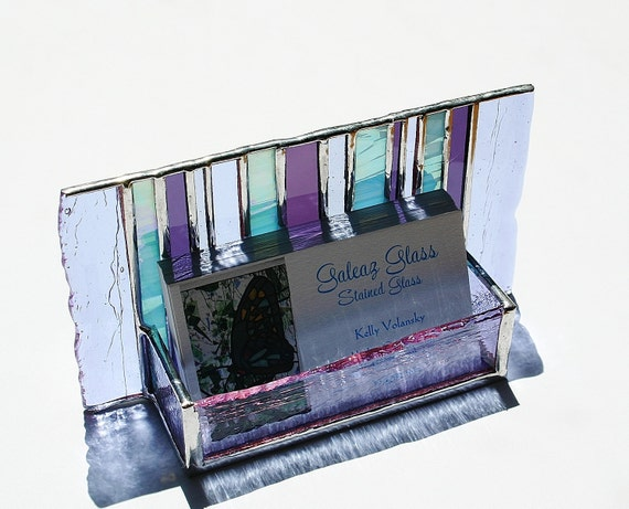 Stained Glass Business Card Holder Purple Lavender Blue Art Glass Fathers Day Office Graduation Gift Desk Accessory New Job OOAK