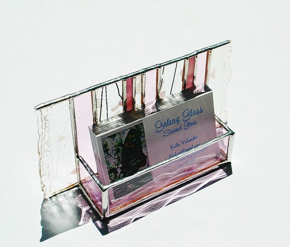 Stained Glass Business Card Holder Pink Confetti Art Glass Office Desk Accessory Handmade OOAK Striped