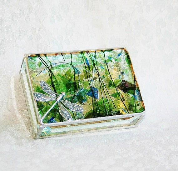Reserved for GARDEN DREAMS GIVEAWAY July 2 - 8 Stained Glass Jewelry Box Purple Blue Green Confetti 3x4 Floral-stamped Dragonfly