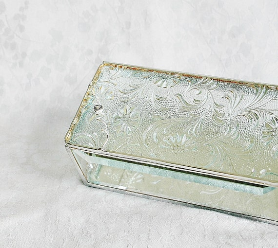 RESERVED for CAMERON Stained Glass Jewelry Box Clear Florielle 3x6 w/ Pewter-cast Double Heart Handmade