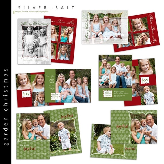 Garden Christmas Holiday Card COLLECTION - Photoshop Templates for Professional Photographers