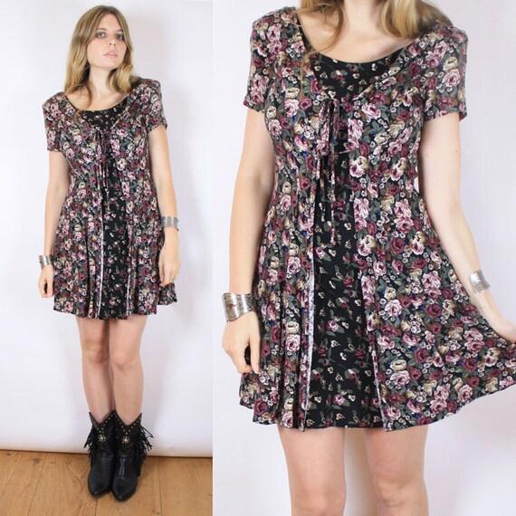 Vintage 90s Floral Grunge Mini Dress