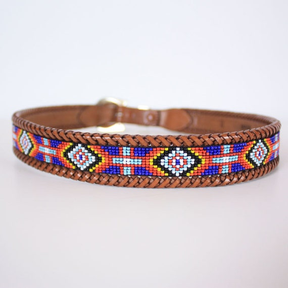 vintage beaded navajo brown leather belt