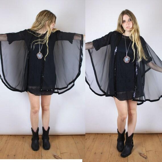 Vintage 70s sheer black cocoon cape sequin trim
