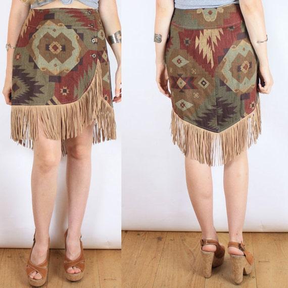 vintage 80s southwestern mini skirt with FRINGE trim