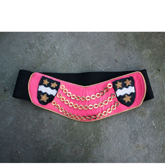 Vintage 1989 Pink Leather Gold Chain Beaded Belt