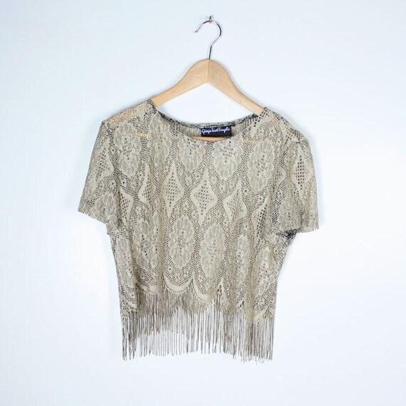 Vintage 80s Sheer lace FRINGE Cropped Top