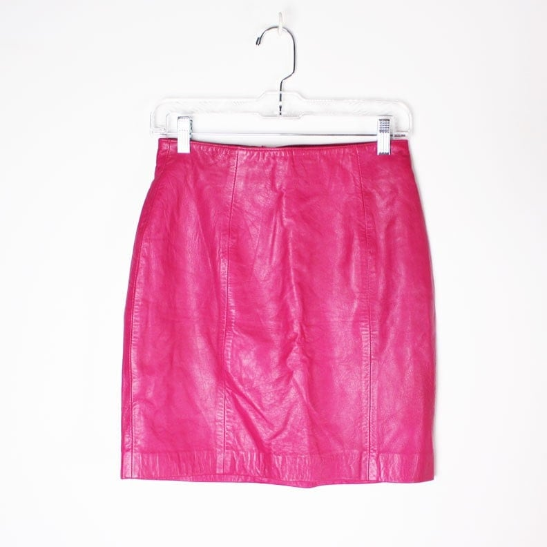 vintage 80s pink leather skirt by dreamingneon on etsy