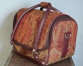 Vintage Oxblood Tapestry Travel Bag.