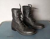 Vintage ACME Black Combat Boots. Women size: 6.5  (36 Euro)