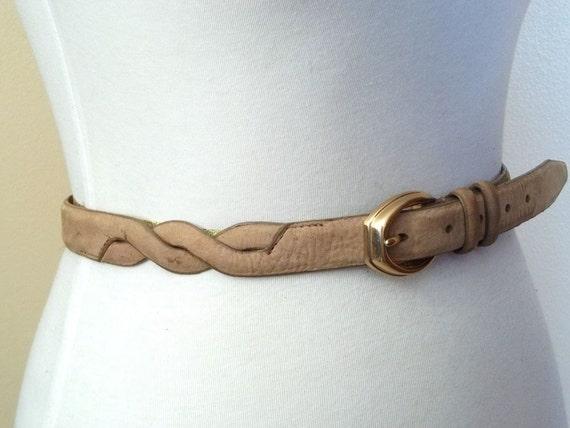 Vintage Tan Suede  SPIRAL Belt.