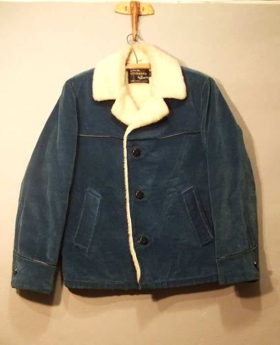 MENS 60s Vintage SHERPA Dark Turquoise Corduroy  Jacket by SEARS. Mint Cond.  (m)