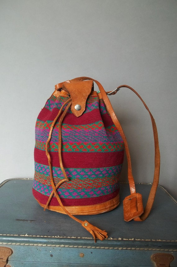 Vintage ETHNIC Tapestry/Leather BUCKET BAG