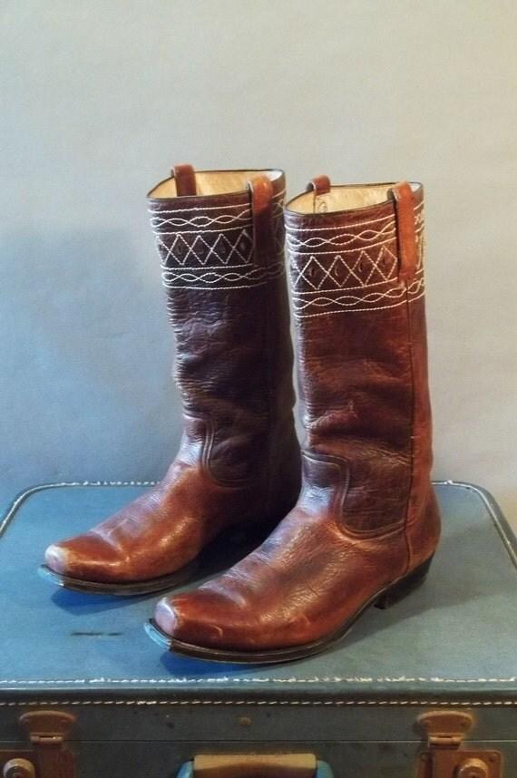 MENS Vintage 80s BOHO Square Toe Boots. Men Size 10.5  (44.5 Euro)
