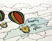 Happily Ever After card - hot air balloons