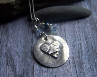 Silver Heart Necklace, Rustic Silver Heart, Heart Charm Pendant, Heart Jewelry