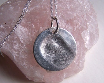 Fingerprint Necklace, Silver Fingerprint Jewelry, Fingerprint Charm Pendant