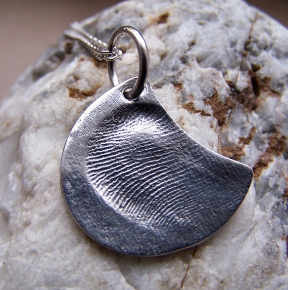 Fingerprint Necklace, Silver Fingerprint Jewelry, Fingerprint Pendant, Fingerprint Charm