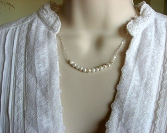 Elegant Pearl Necklace, Pearl Choker, Pendant, Everyday Casual or Bridal, Bridesmaid gift
