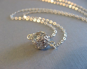 Silver Ball Necklace, Ball Pendant, Ball Choker, Delicate, minimal, casual, everyday