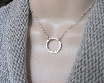 Silver Hammered Circle Necklace, Silver Pendant Necklace