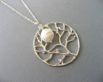 Tree Pendant, Silver Tree and Pearl Necklace, Tree of Life