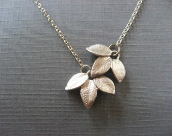Dangling Leaves Necklace, Flower Lariat Necklace, Silver Pendant, Everyday casual or Bridal, Bridesmaid gift