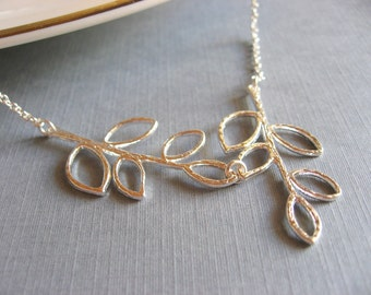Silver Leaf Branch Necklace, Lariat Necklace, Silver Leaves Pendant