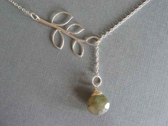 Lariat Necklace, Labradorite and Silver Leaf Branch Necklace, Everyday Casual or Bridal, Bridesmaid Gifts