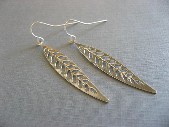 Skinny Leaf Earrings, Dangle Drop Earrings