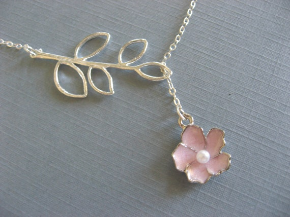 Pink Sakura Flower Lariat Necklace and Silver Branch Pendant Necklace