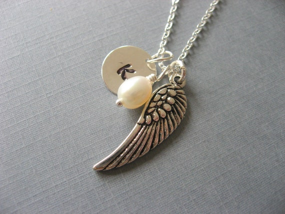 Sympathy Gift, Silver Personalized Wing Necklace with Initial Coin and Tiny Pearl, Wing Pendant, Memory Necklace