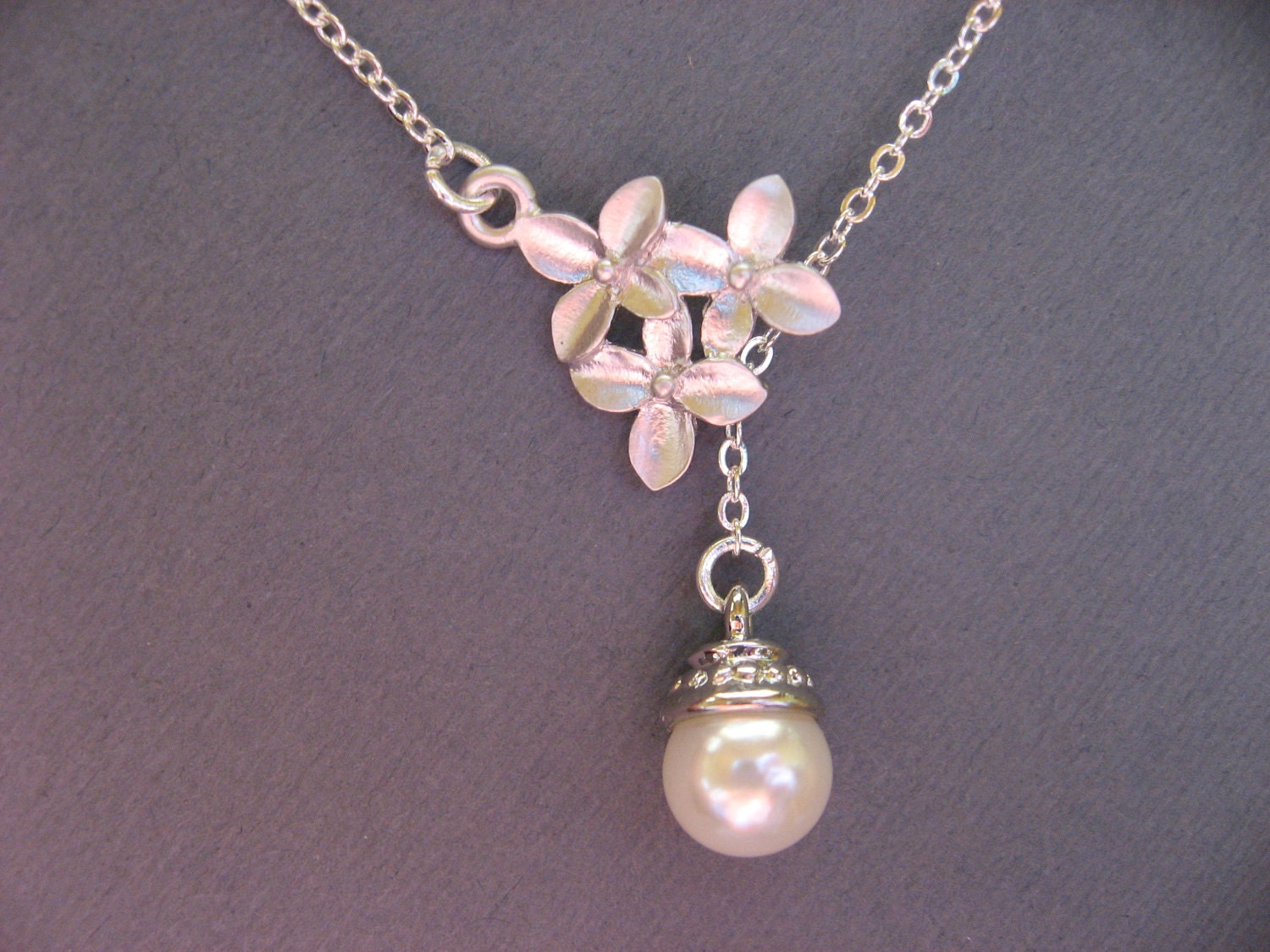 cherry blossom necklace with pearl pendant everyday casual or