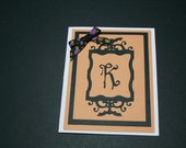 Halloween monogram greeting card with matching envelope - cardsforacausebykath