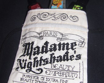 Madame Nightshade Apothecary Style Embroidered Muslin Drawstring Pouch