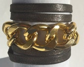 Charcoal Leather & Chunky Gold Chain Link Wrap bracelet