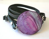 CLEARANCE Charcoal Grey Metallic Leather Wrap Bracelet with Purple Agate