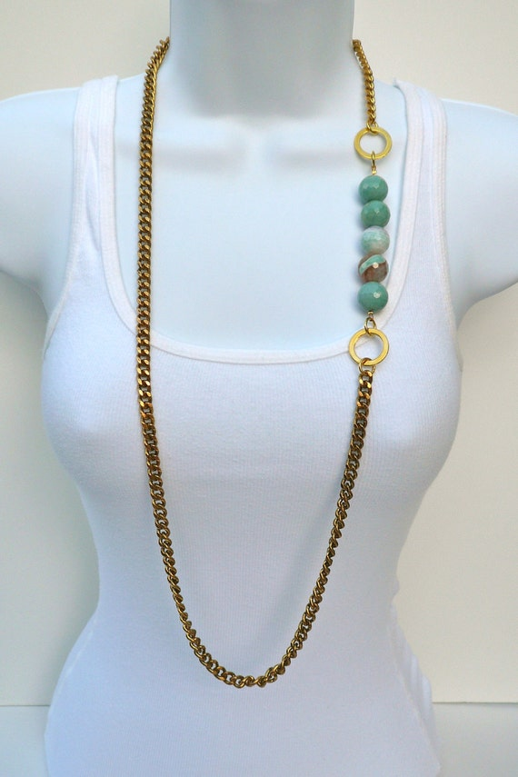 Agate Bead Long Necklace-The Cyprus Collection