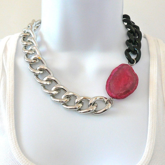 CLEARANCE Chunky Multi Chain Necklace with Bright Pink Agate