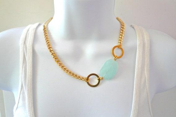 Gold Curb Chain Link Necklace with Aquamarine Quartz