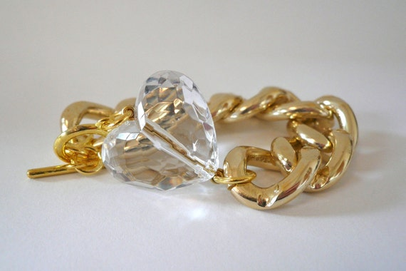Chunky Gold Chain Link Bracelet with Clear Faceted Heart
