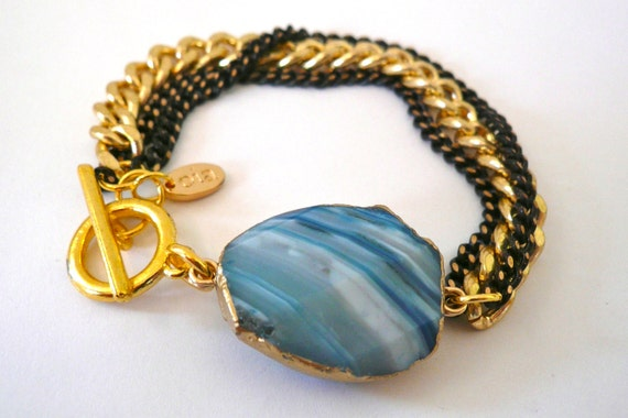 Multi Chain Bracelet with Blue Agate - The Fina Bracelet