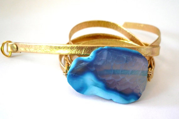 Gold Leather Wrap Bracelet with Purple/Cyan Agate