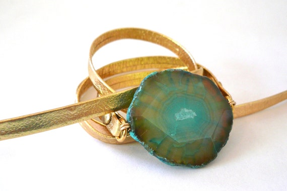 Gold Metallic Leather Wrap Bracelet with Turquoise Agate