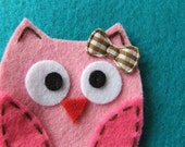 Pink Felt Owl Hair Clippie with Brown Gingham Bow -- LAST ONE