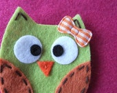 Lime Green Felt Owl Hair Clippie with Orange Gingham Bow -- LAST ONE